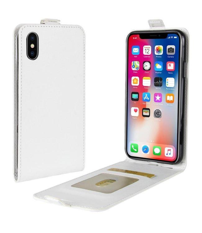 Crazy Horse Lederen flip cover / flipcase voor  iPhone X - iPhone XS - wit