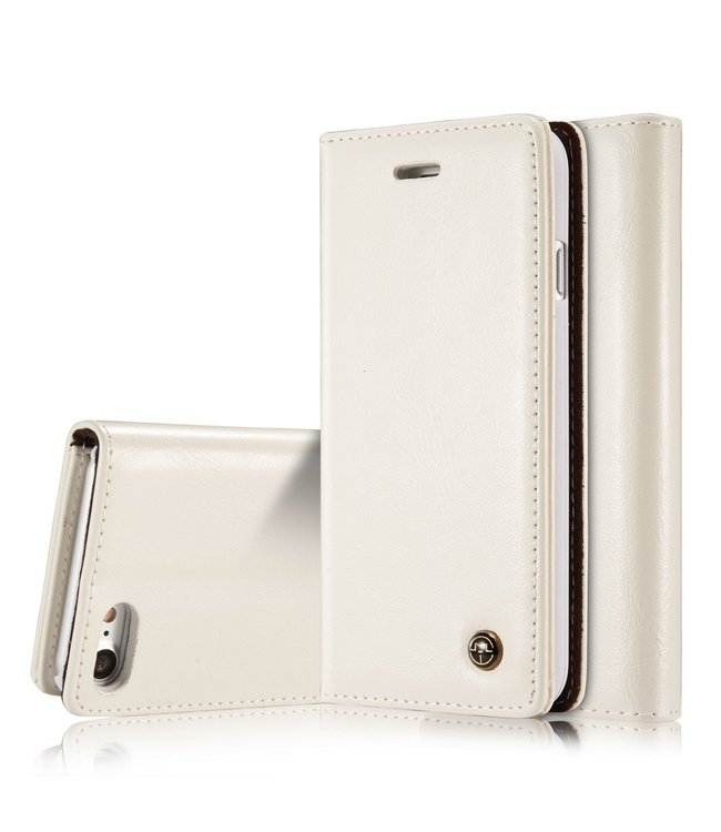 Caseme Luxe lederen bookcase voor iPhone 7 - iPhone 8 - Wit