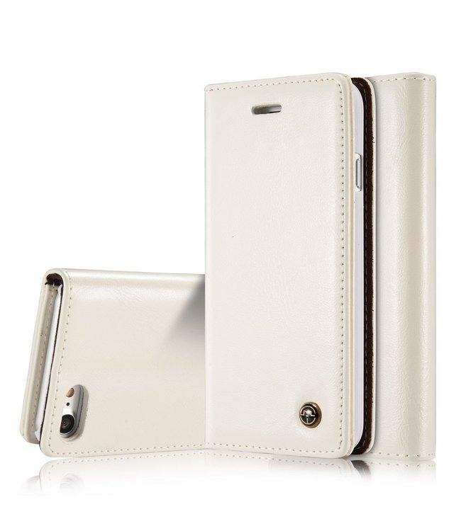 Caseme Luxe lederen bookcase voor iPhone X - iPhone Xs - Wit