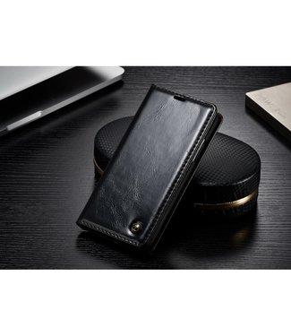 Caseme Luxe lederen bookcase voor iPhone X - iPhone Xs - Zwart