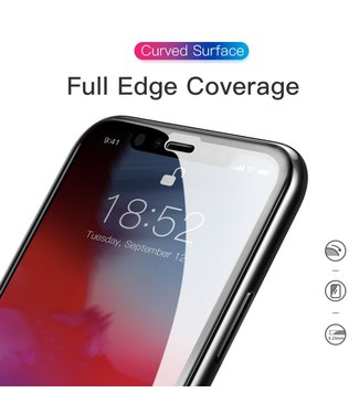 Baseus 0.23mm curved-screen Tempered Glass Screen Protector voor iPhone XS Max - ZWART