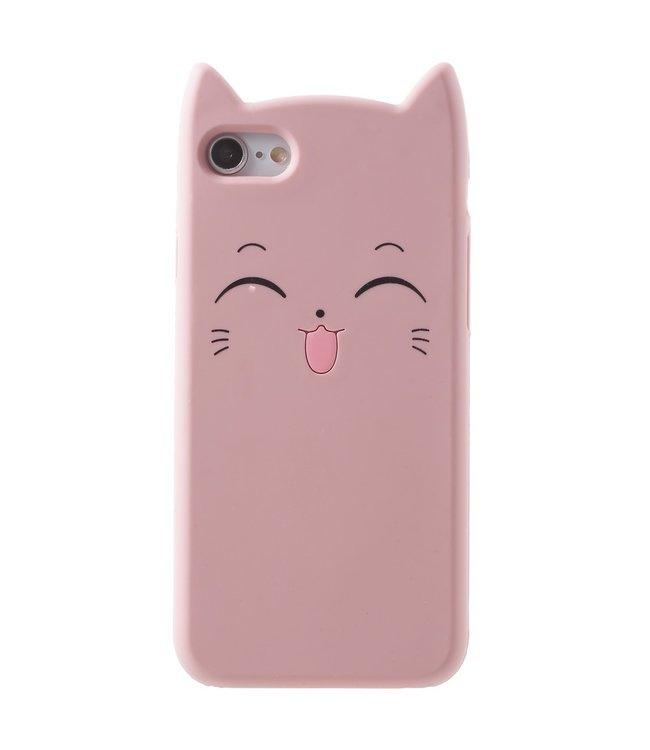 ZWC TPU soft cover voor iPhone 7 - iPhone 8 smiling Cat roze  met opstaande oortjes