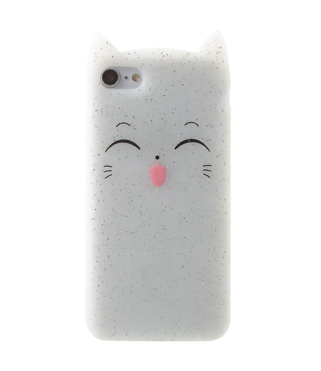 ZWC TPU soft cover voor iPhone 7 - iPhone 8 smiling Cat Transparant  met opstaande oortjes