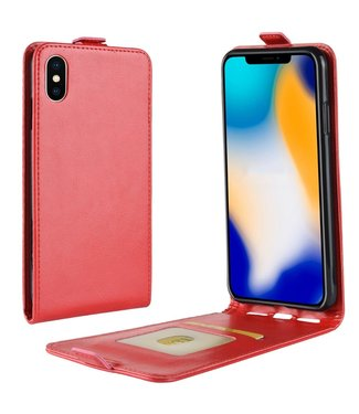 Crazy Horse Verticale Flip cover voor iPhone Xs Max 6.5-inch - Rood