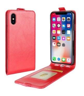 Crazy Horse Verticale Flip cover voor iPhone X - iPhone XS 5.8 inch - Rood
