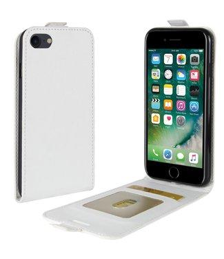 Crazy Horse Lederen flip cover / flipcase voor iPhone 7/8/SE 2020 - Wit