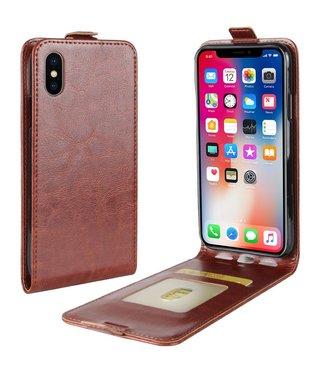 Crazy Horse Lederen flip cover / flipcase voor iPhone X - iPhone XS - Bruin