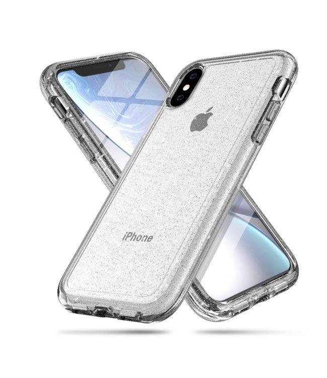 ZWC Glitter goud TPU  hard case voor iPhone X - iPhone XS 5.8 inch - Transparant