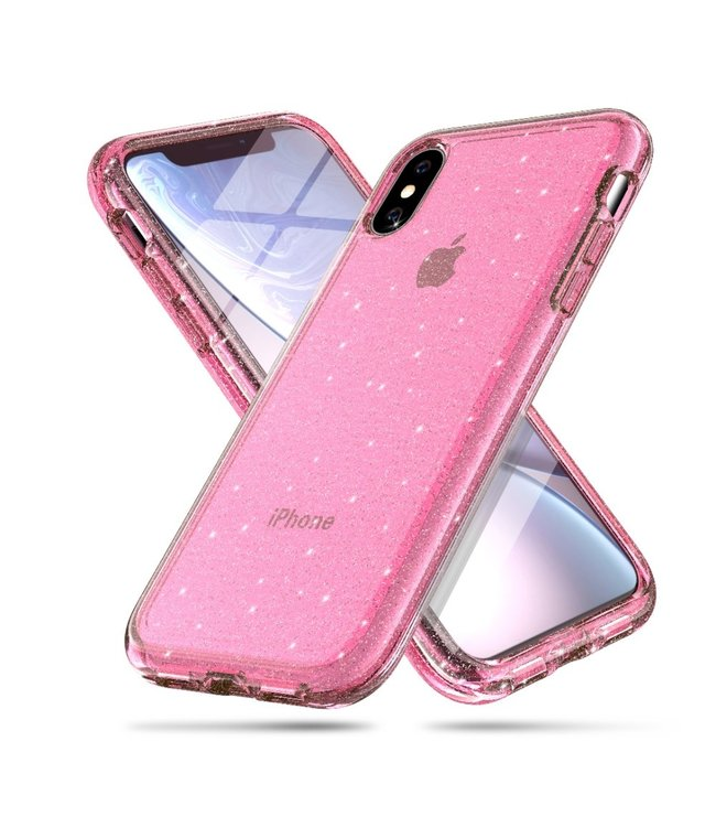 ZWC Glitter roze goud TPU  hard case voor iPhone X - iPhone XS 5.8 inch - Transparant