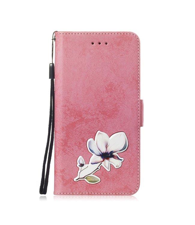 ZWC PU Lederen Bookcase met bloempatroon voor Iphone XR 6.1 - Roze