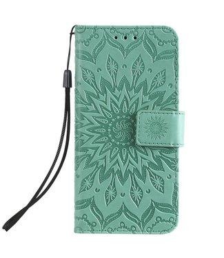 ZWC Lederen bookcase iPhone 11 Pro 5.8 inch - Zonnebloem patroon - Groen