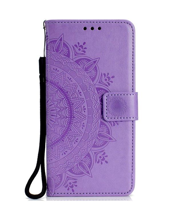 ZWC Leren Wallet Case - iPhone XR 6.1 inch - Mandala Patroon - Paars