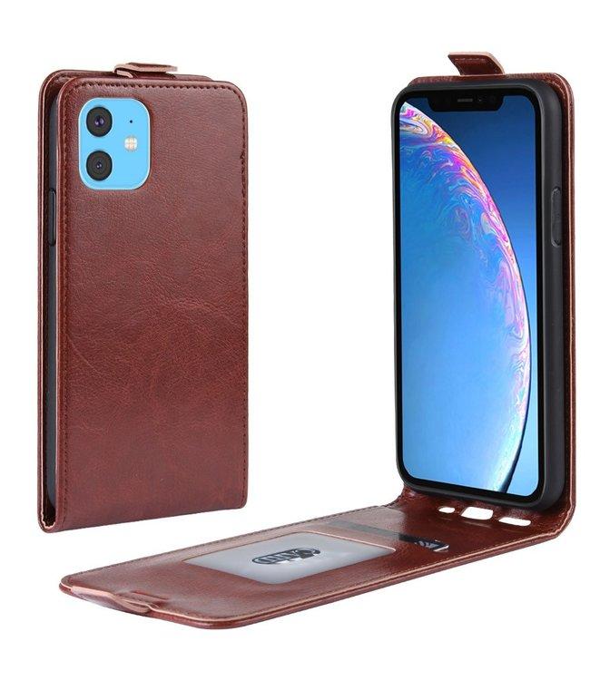 Crazy Horse Lederen flip cover / flipcase - iPhone 11 6.1 inch - Bruin