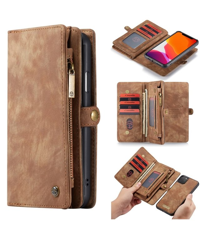 Caseme 2 in 1 Leren Wallet + Case - iPhone 11 Pro 5.8 inch - Bruin - Caseme