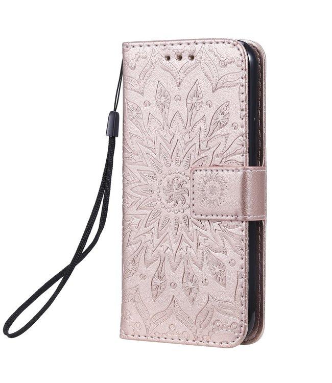 ZWC PU Lederen bookcase - iPhone 11 Pro 5.8 inch - Zonnebloem patroon - Goud Roze