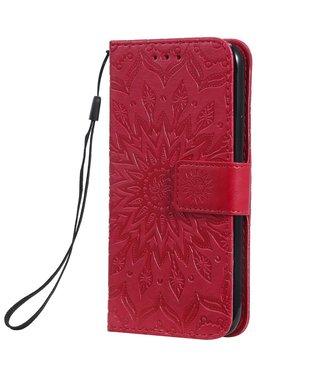 ZWC PU Lederen bookcase voor iPhone 11 Pro 5.8 inch - Zonnebloem patroon - Rood