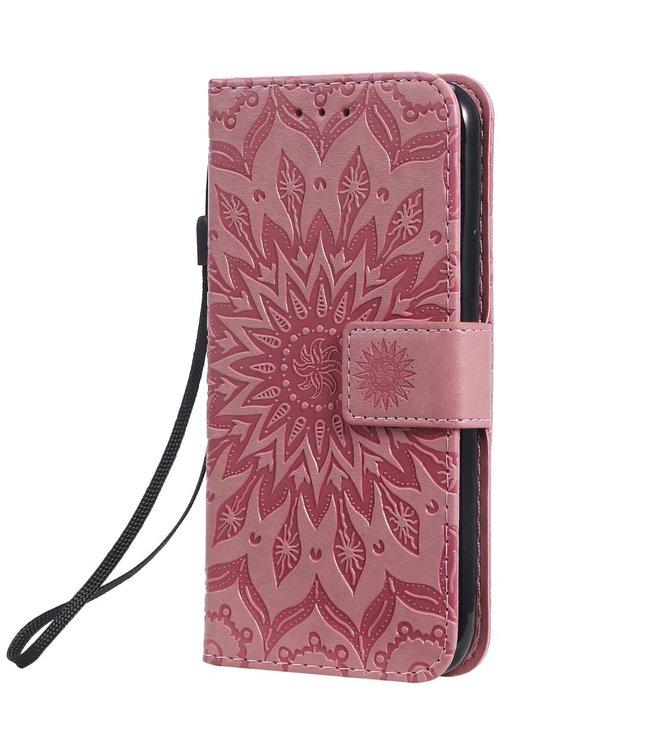 ZWC PU Lederen bookcase voor iPhone 11 Pro 5.8 inch - Zonnebloem patroon - Roze