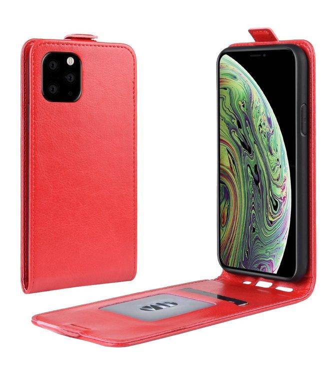 Crazy Horse Lederen flip cover / flipcase - iPhone 11 Pro 5.8 inch - Rood