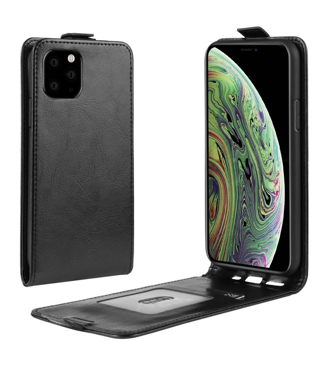 Crazy Horse Lederen flip cover / flipcase - iPhone 11 Pro 5.8 inch  - Zwart