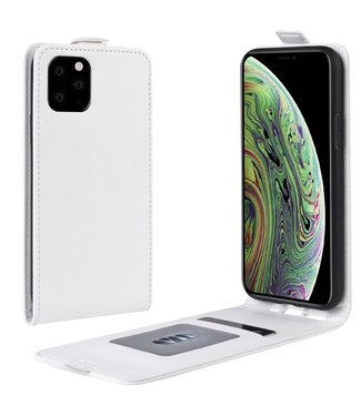 Crazy Horse Lederen flip cover / flipcase - iPhone 11 Pro 5.8 inch  - Wit
