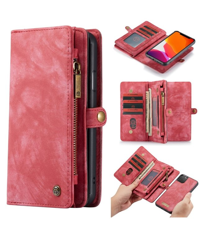 Caseme 2 in 1 Leren Wallet + Case - iPhone 11 Pro Max 6.5 inch - Rood - Caseme