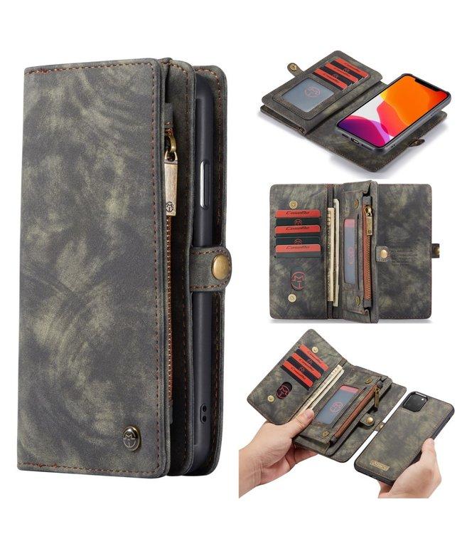 Caseme 2 in 1 Leren Wallet + Case - iPhone 11 Pro Max 6.5 inch - Grijs - Caseme