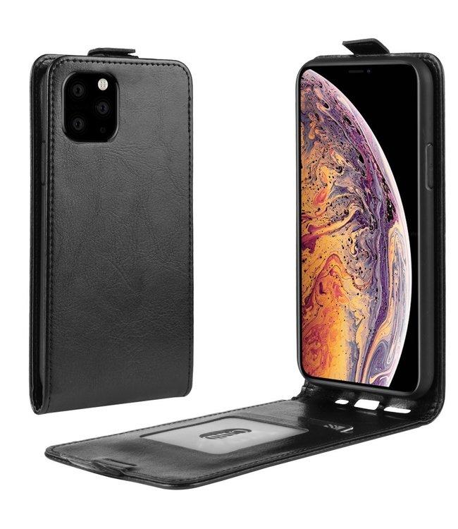 Crazy Horse Lederen flip cover / flipcase - iPhone 11 Pro Max 6.5 inch - Zwart