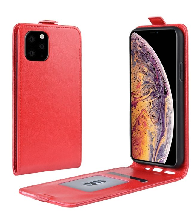 Crazy Horse Lederen flip cover / flipcase - iPhone 11 Pro Max 6.5 inch - Rood