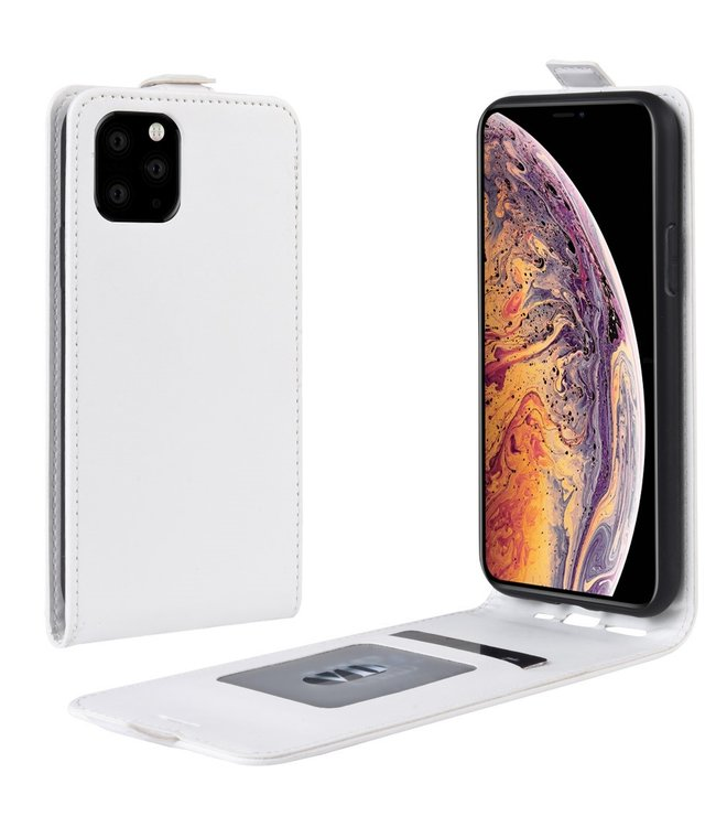 Crazy Horse Lederen flip cover / flipcase - iPhone 11 Pro Max 6.5 inch - Wit