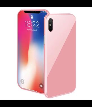 ZWC Magnetische Hardcase met gekleurde achterkant - iPhone XR Hoesje - Roze