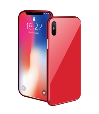 ZWC Magnetische Hardcase met gekleurde achterkant - iPhone XR Hoesje - Rood