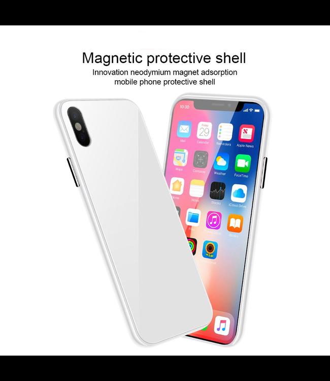 ZWC Magnetische Hardcase met gekleurde achterkant - iPhone XR Hoesje - Wit