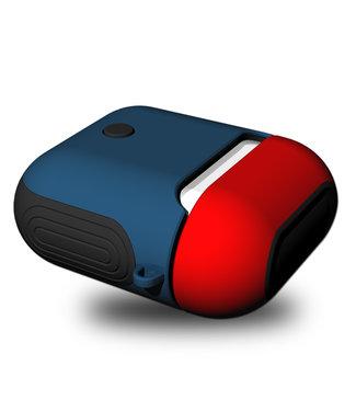 ZWC TPU Beschermhoes voor Apple Airpods - Rood Blauw