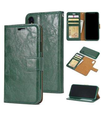 Crazy Horse Afneembare 2-in-1 TPU Leren Wallet Case voor iPhone X(s) - Groen