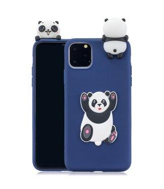 ZWC Speelse softcase met pandabeer voor iPhone 11 6.1 inch - Blauw