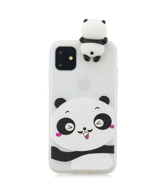 ZWC Softcase schattige pandabeer cartoon iPhone 11 Pro Max 6.5 inch-Wit