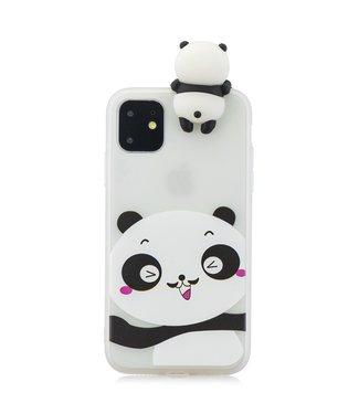 ZWC Softcase met schattige pandabeer cartoon voor iPhone 11 6.1 inch-Wit