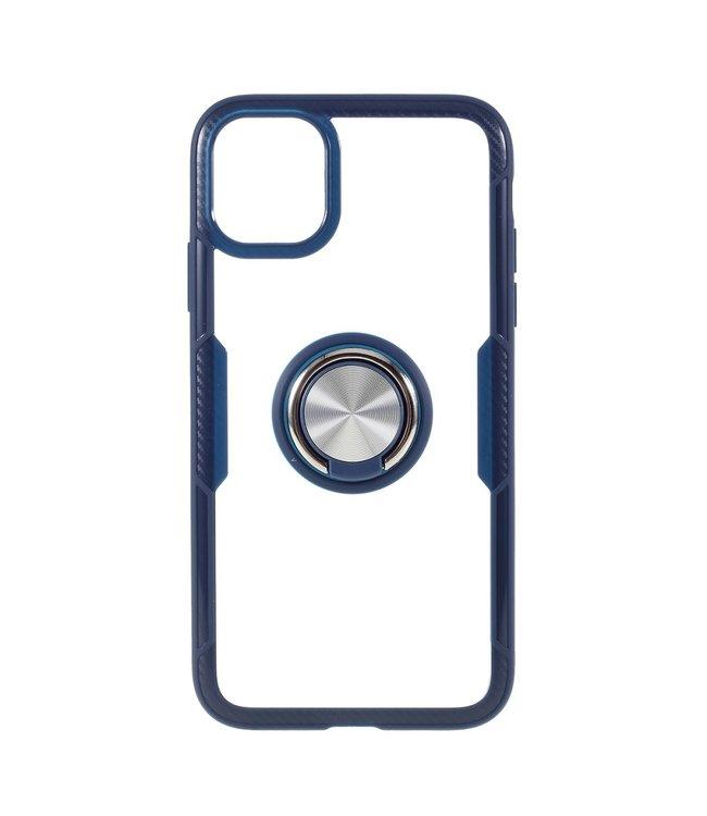 ZWC Handige telefoonhoes met vingerring voor iPhone 11 Pro 5.8 inch- Blauw