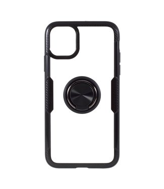 ZWC Telefoonhoes met vingerring voor iPhone 11 Pro Max 6.5 inch -All black