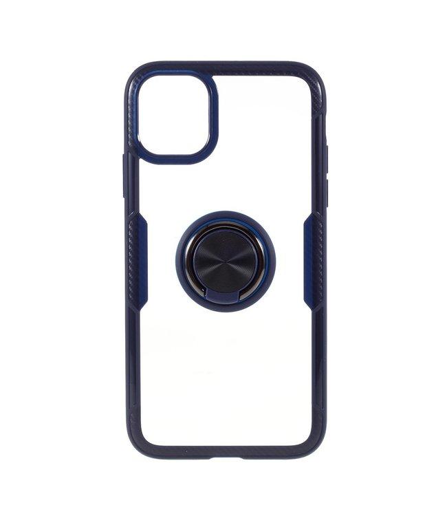 ZWC Telefoonhoes met vingerring voor iPhone 11 Pro 5.8 inch-Blauw/Zwart
