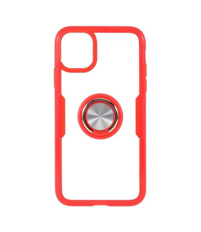 ZWC Handige telefoonhoes met vingerring voor iPhone 11 Pro 5.8 inch- Rood