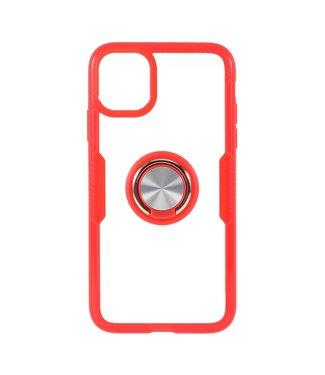 ZWC Telefoonhoes met vingerring voor iPhone 11 Pro Max 6.5 inch - Rood