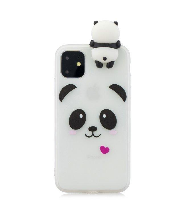 ZWC Softcase met 3D pandabeer cartoon voor iPhone 11 Pro Max 6.5 inch-Wit