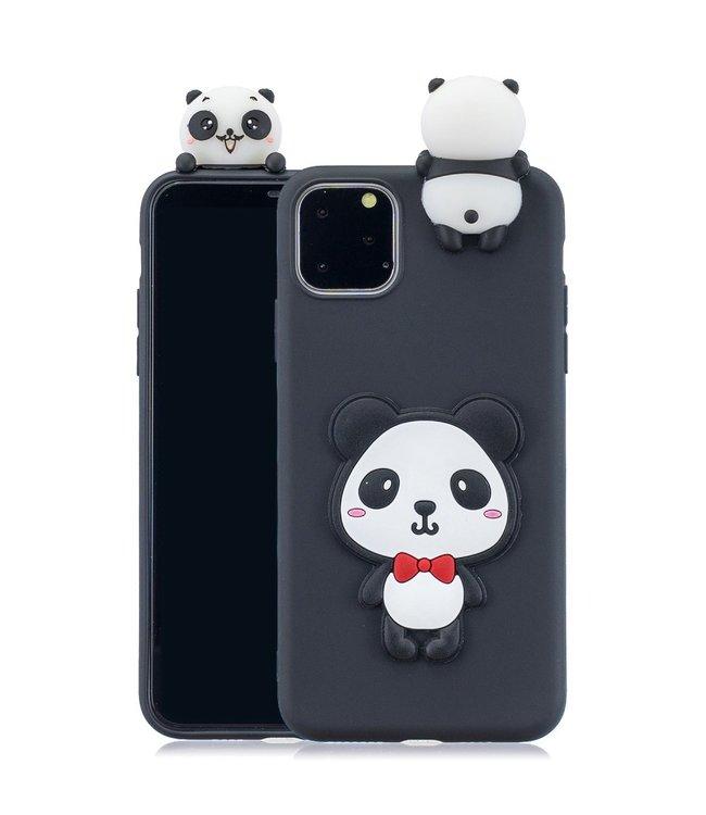 ZWC Softcase met 3D pandabeer voor iPhone 11 Pro Max 6.5 inch - Zwart