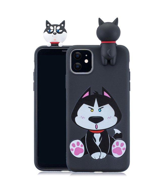 ZWC Softcase met 3D husky en cartoon voor Iphone 11 6.1 inch- Zwart