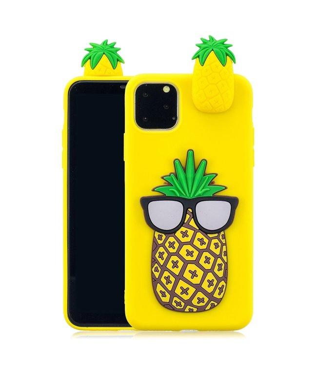 ZWC Speelse softcase met 3D ananas voor iPhone 11 Pro 5.8 inch - Geel