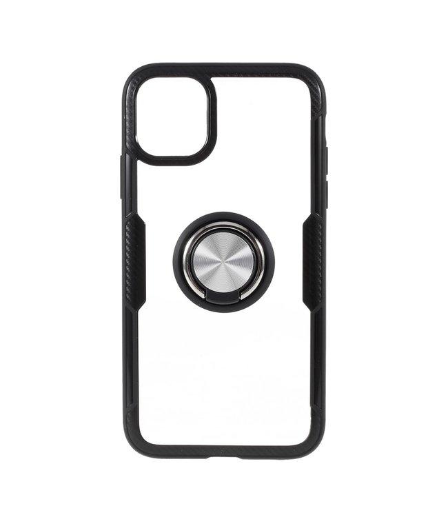 ZWC Handige telefoonhoes met vingerring voor iPhone 11 Pro - Zwart/zilver