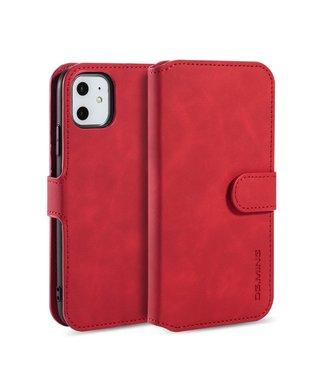 DG-Ming iPhone cover/bookcase lederen portemonnee voor iPhone 11 6.1 inch-Rood