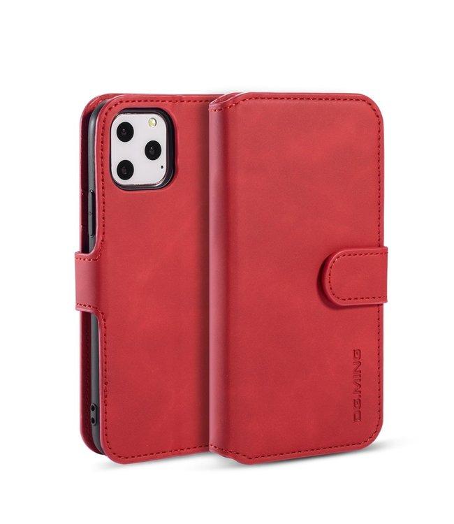 DG-Ming iPhone cover/bookcase lederen portemonnee voor iPhone 11 Pro - Rood