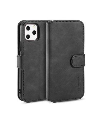 DG-Ming iPhone cover/bookcase lederen portemonnee voor iPhone 11 Pro Max-Zwart